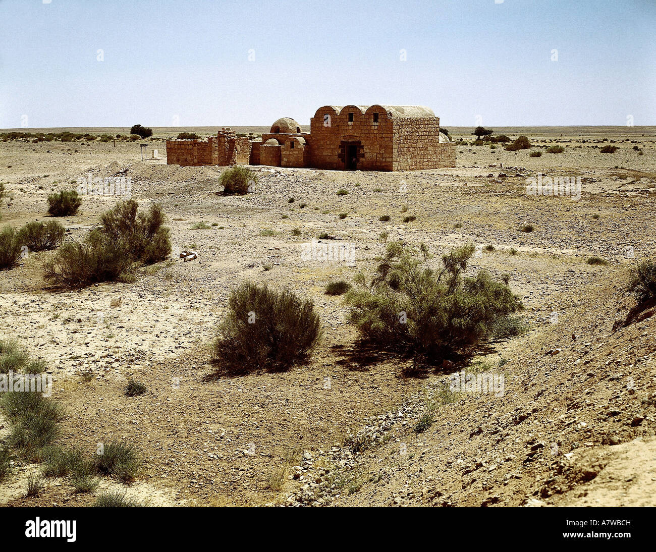 """geography / travel, Jordan, ""Quasr Amra"" Fortress, ruin, hunting lodge, Walid I., 670 - 715, view omayyad, caliphate, Stock Photo"