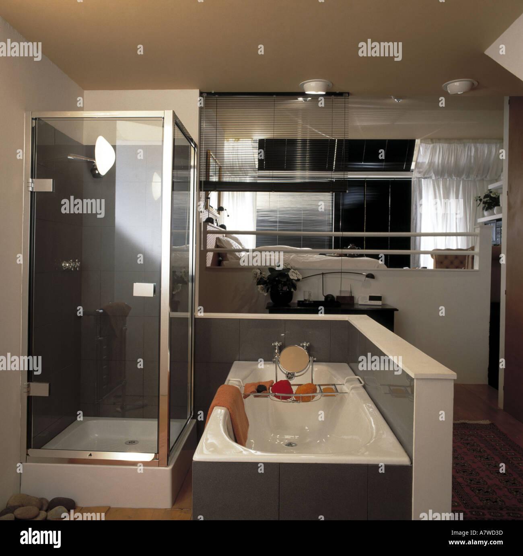 Bedroom With Ensuite Bathroom: Split Level Bedroom And Ensuite Bathroom Stock Photo