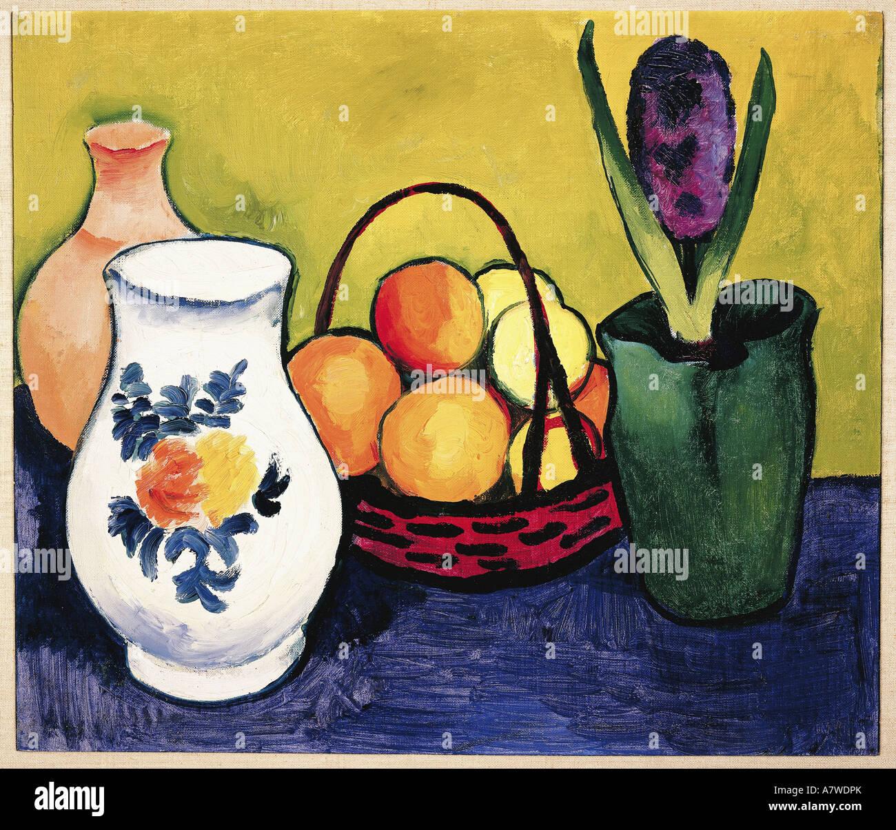 'fine arts, Macke, August (1887 - 1914), 'Weisser Krug mit Blumen und Früchten', painting, Tegernsee, - Stock Image