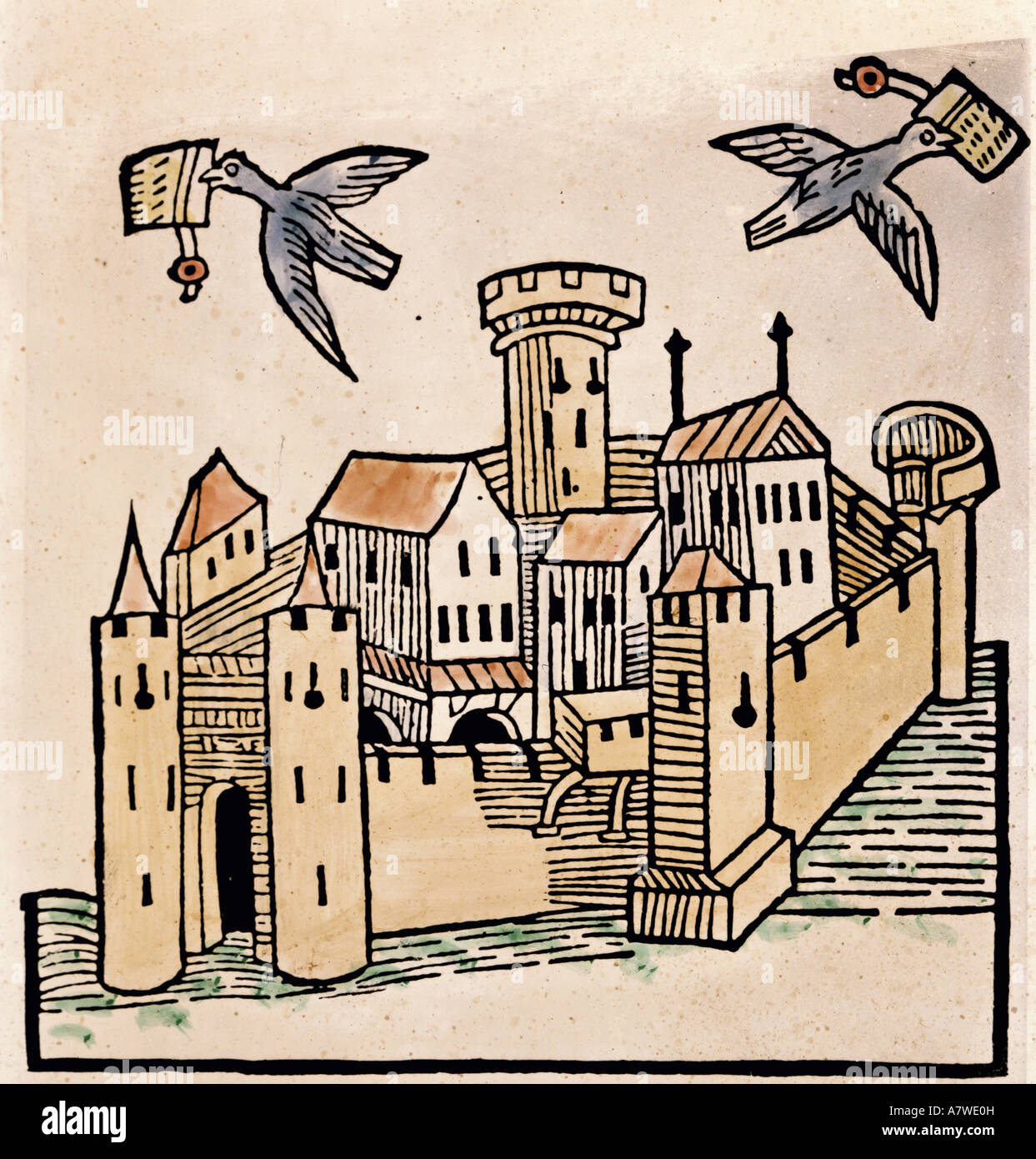 "Mandeville, Jehan de, circa 1300 - 1372, French author/writer, work, ""The  Travels of Sir John Mandeville"", circa 1322 - 1356, figure, carrier pigeons  in ..."
