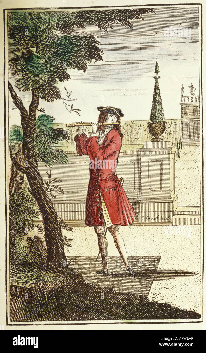 music, musicians, flutist, 'The newest Method for Learners of the German Flute', coloured engraving by J. - Stock Image
