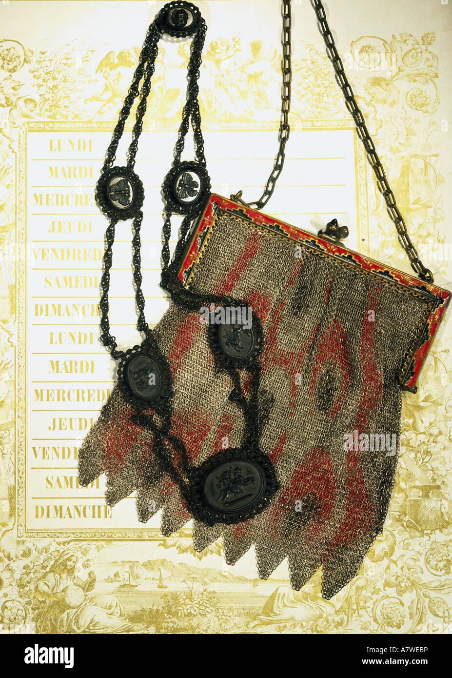 handbags, handbag made of knitted iron threads, circa 1830/1840, with iron necklace, circa 1820/1830, Lehmann collection, - Stock Image