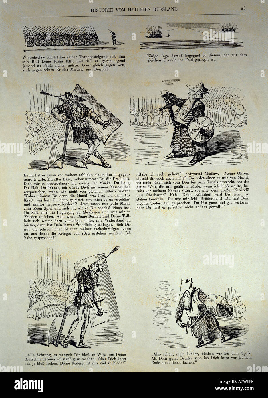 fine arts, Doré, Gustave (1832 - 1883), 'History of the Holy Russia', 1854, German edition, page 23, - Stock Image