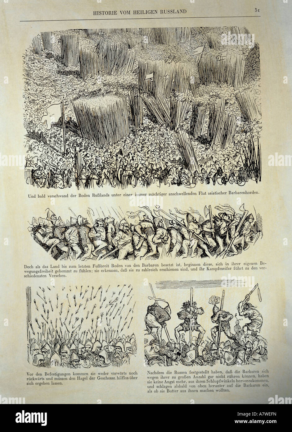 fine arts, Doré, Gustave (1832 - 1883), 'History of the Holy Russia', 1854, German edition, page 51, - Stock Image