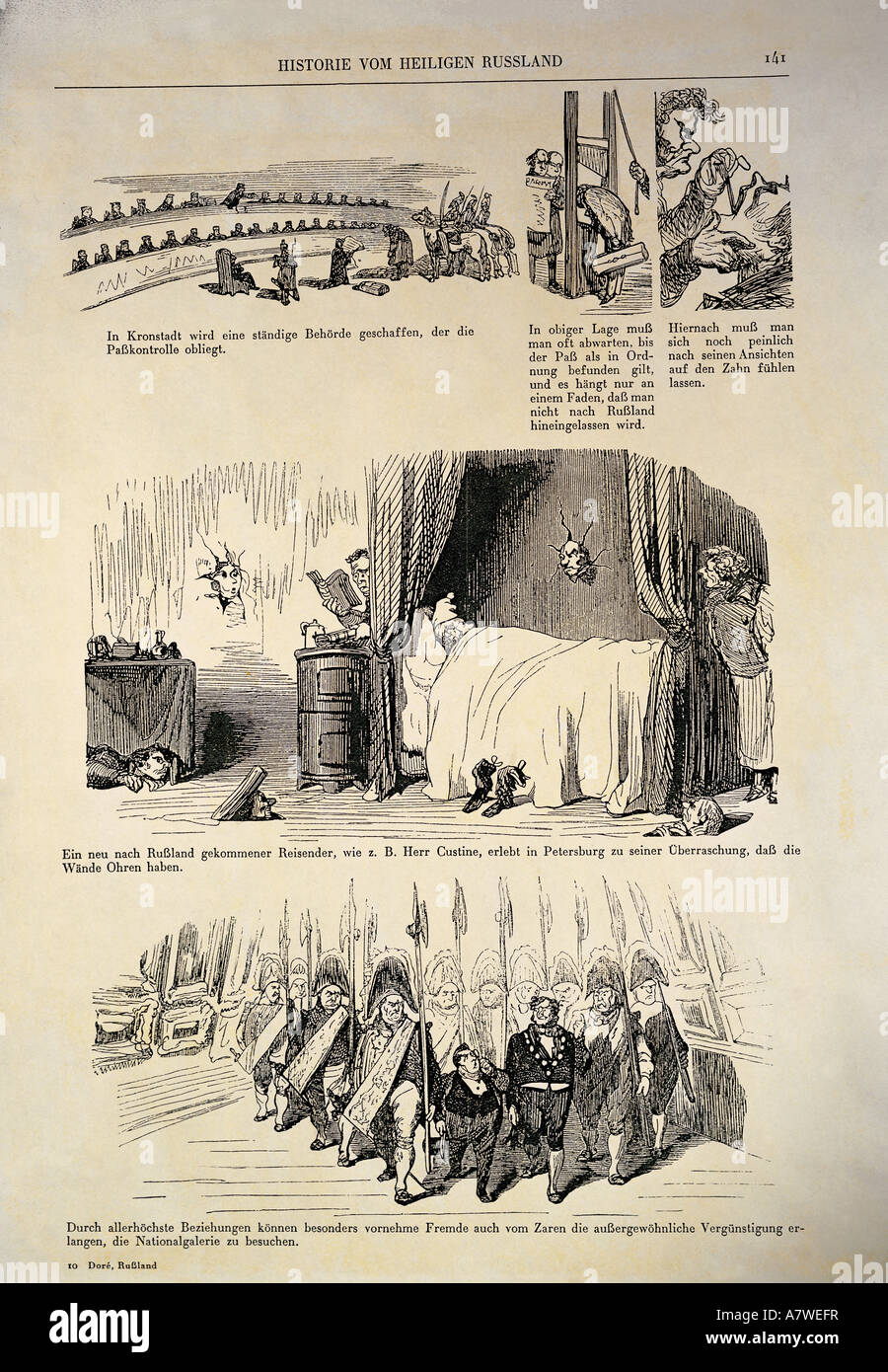 fine arts, Doré, Gustave (1832 - 1883), 'History of the Holy Russia', 1854, German edition, page 141, - Stock Image