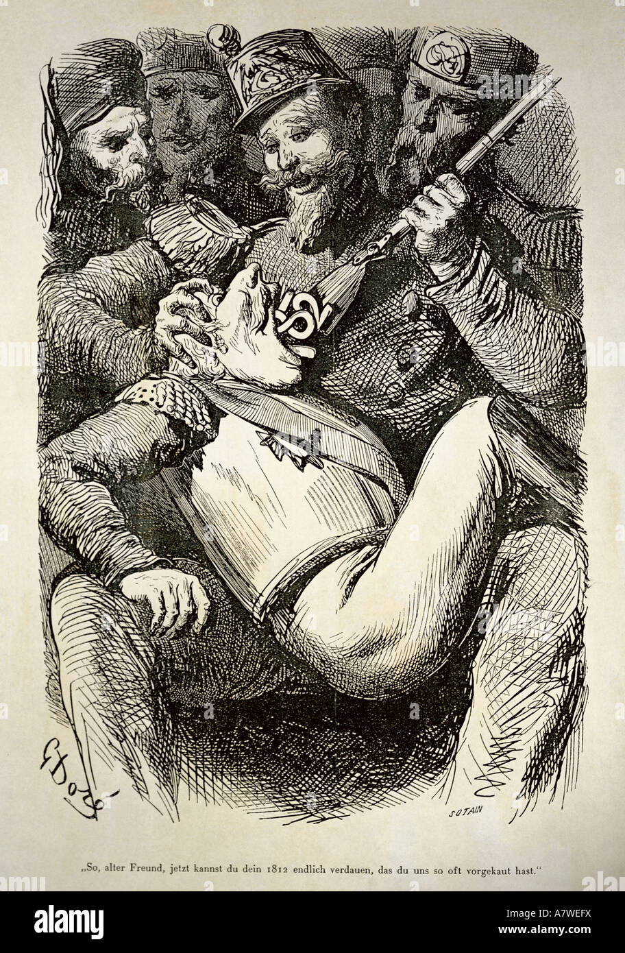 fine arts, Doré, Gustave (1832 - 1883), 'History of the Holy Russia', 1854, page 201, 'Well old - Stock Image