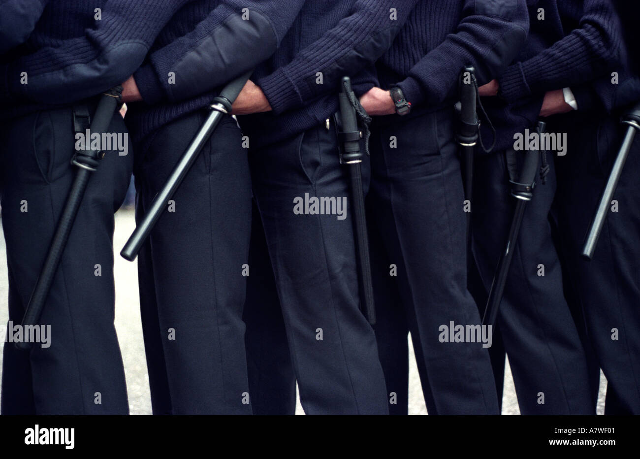 Metropolitan police officers undergoing public order training duties, west London, England. - Stock Image