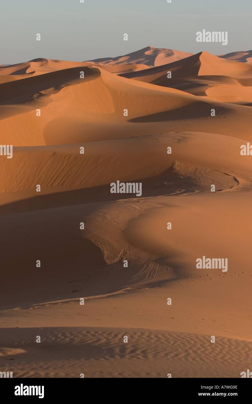 Erb Chebbi sand dunes near Merzouga Morocco - Stock Image