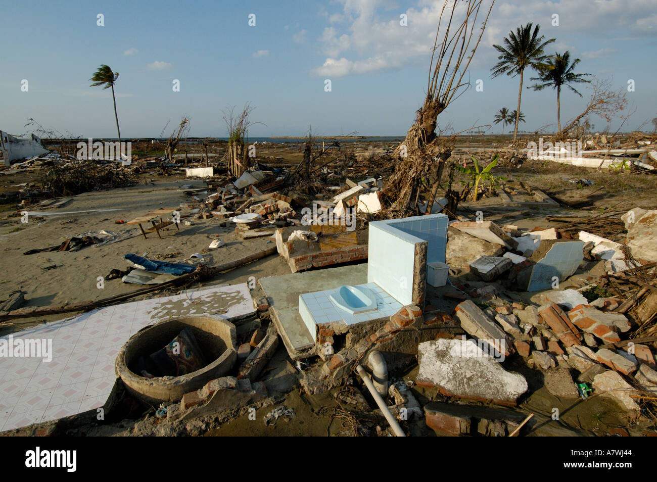 Indonesia Sumatra Banda Aceh Post Tsunami Devastated Ulee Lhe neighbourhood Stock Photo