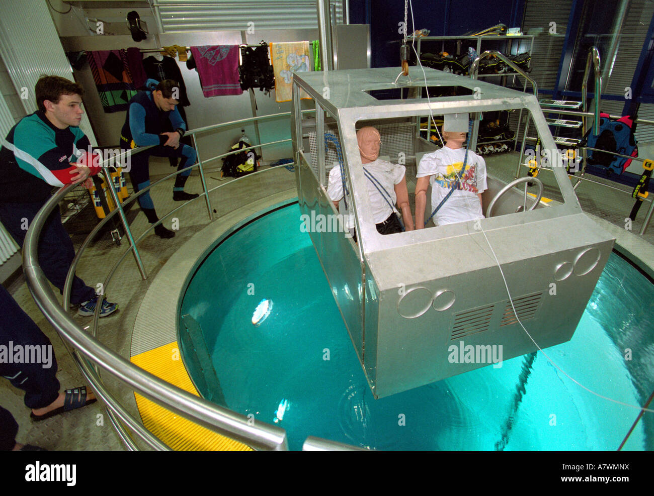 Laboratory course for the fire brigade to rescue men in a car which is under water.Koblenz, Rhineland-Palatinate, Stock Photo