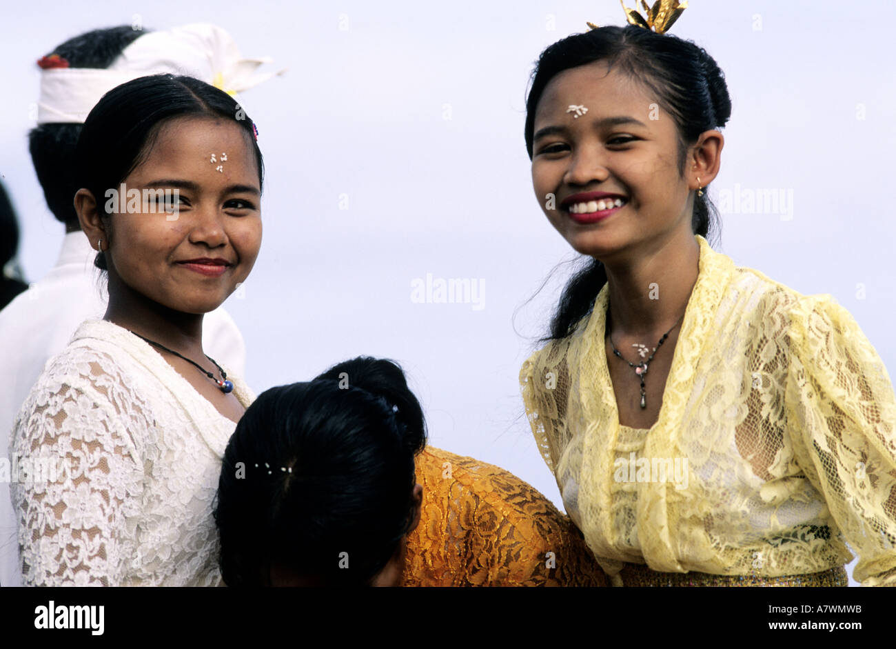 Indonesia, Bali, youg girls with their ceremonies dresses - Stock Image