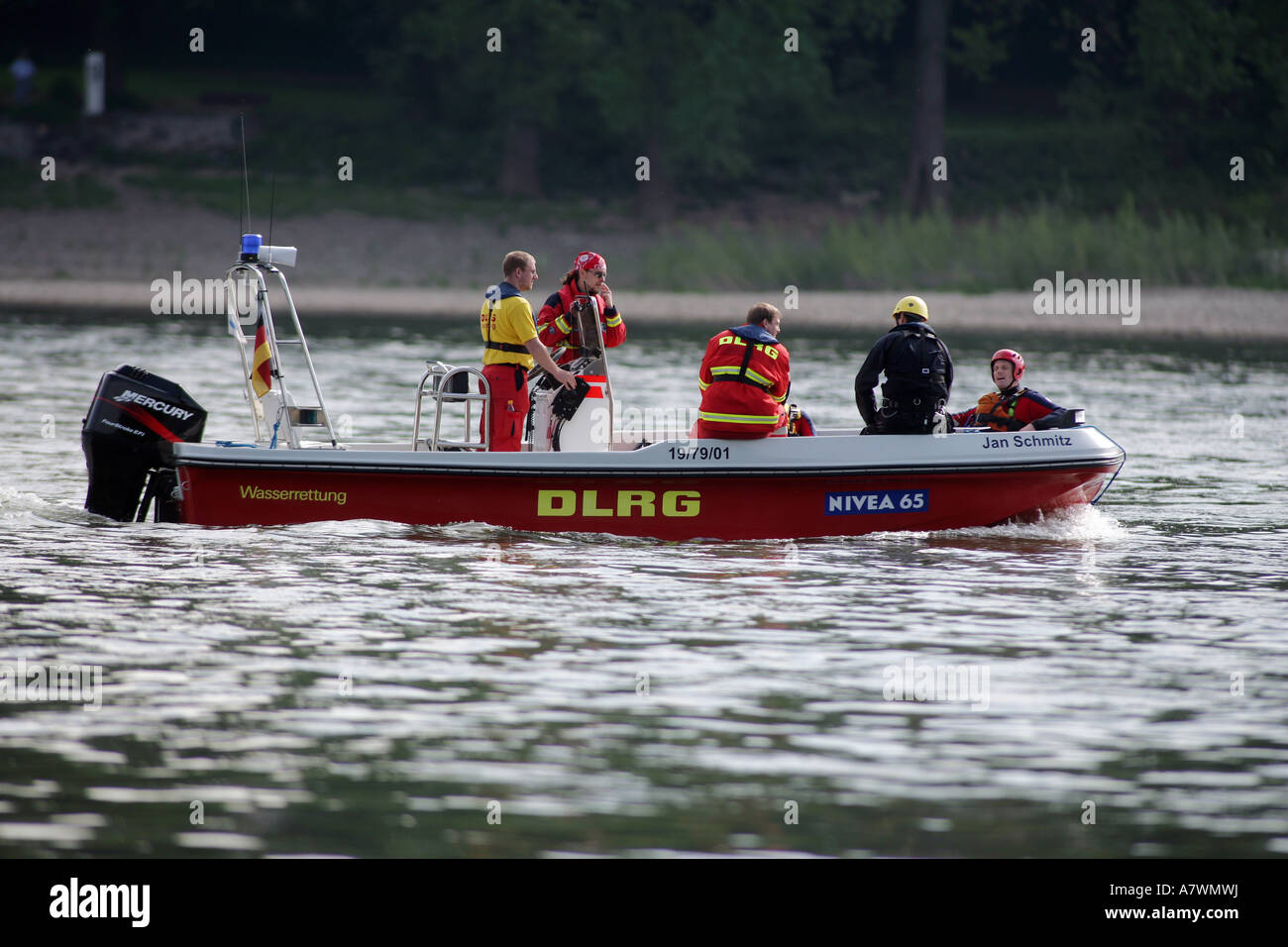Live-savers from the german DLRG during an exercise an a river Stock Photo