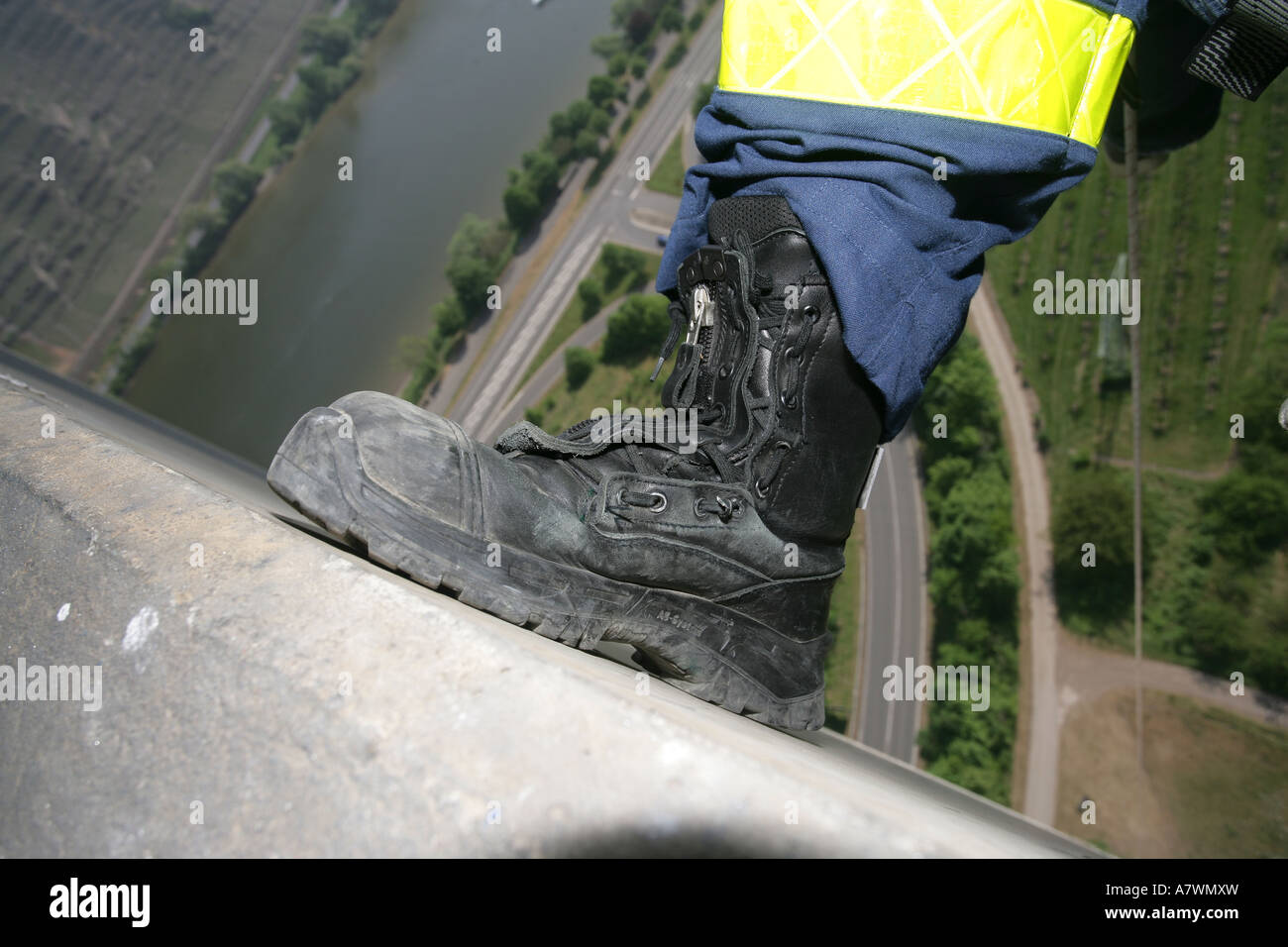 Life-saver brogue during an exercise in great height Stock Photo