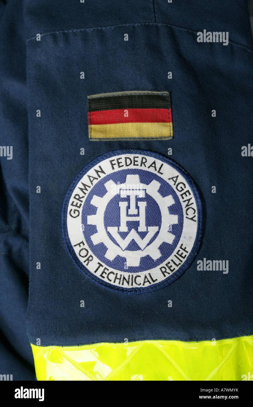 Emblem of the civil protection team 'Technisches Hilfswerk' - Stock Image