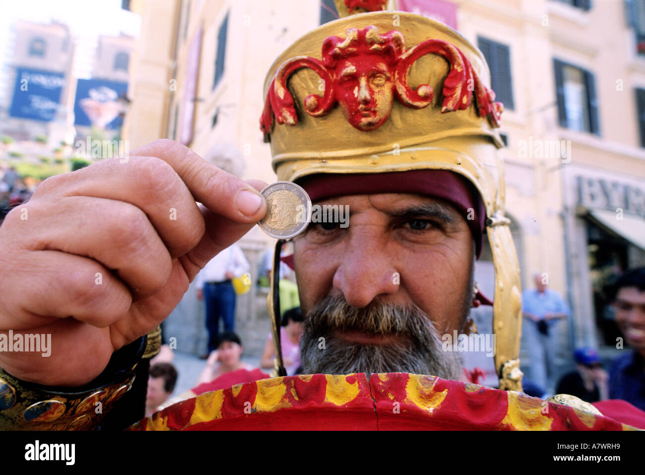 Italy, Lazio, Rome, Espagna square, a man in gladiator dress for pictures with tourists, 2 Euros per picture - Stock Image
