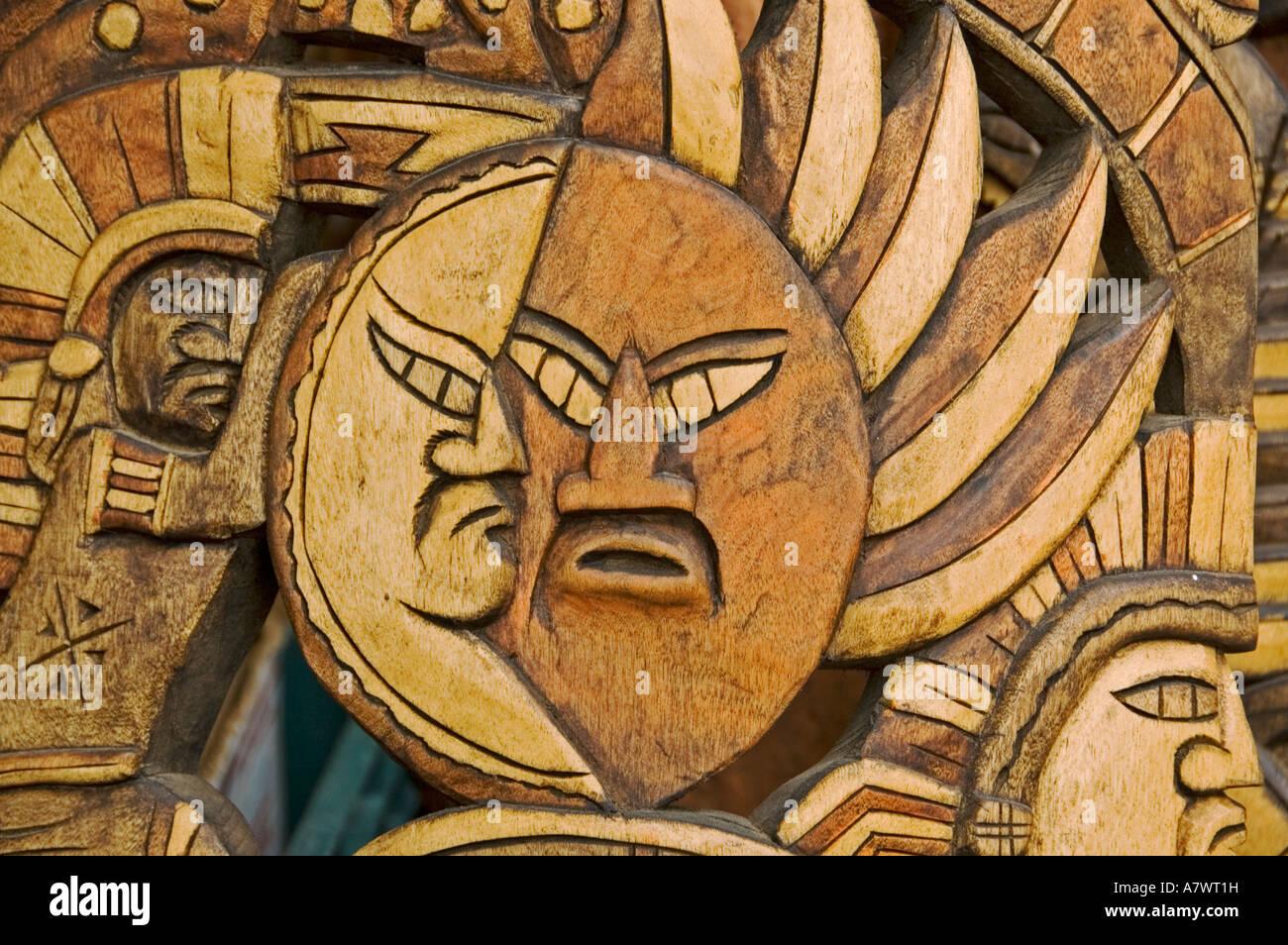 Art and crafts carve art masks Yucatan Mexico - Stock Image