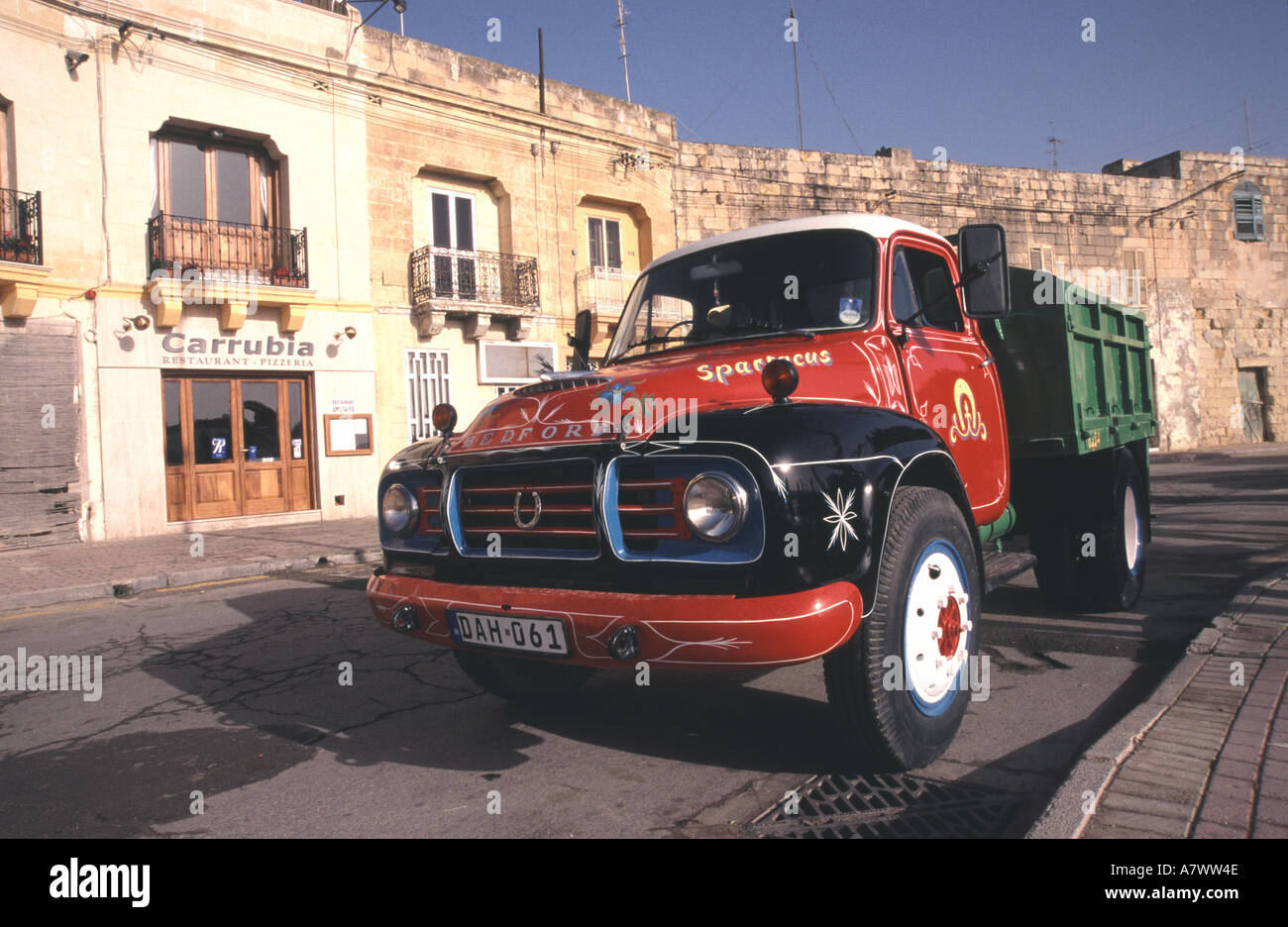 MALTA A lovingly maintained Bedford lorry at Marsaxlokk - Stock Image