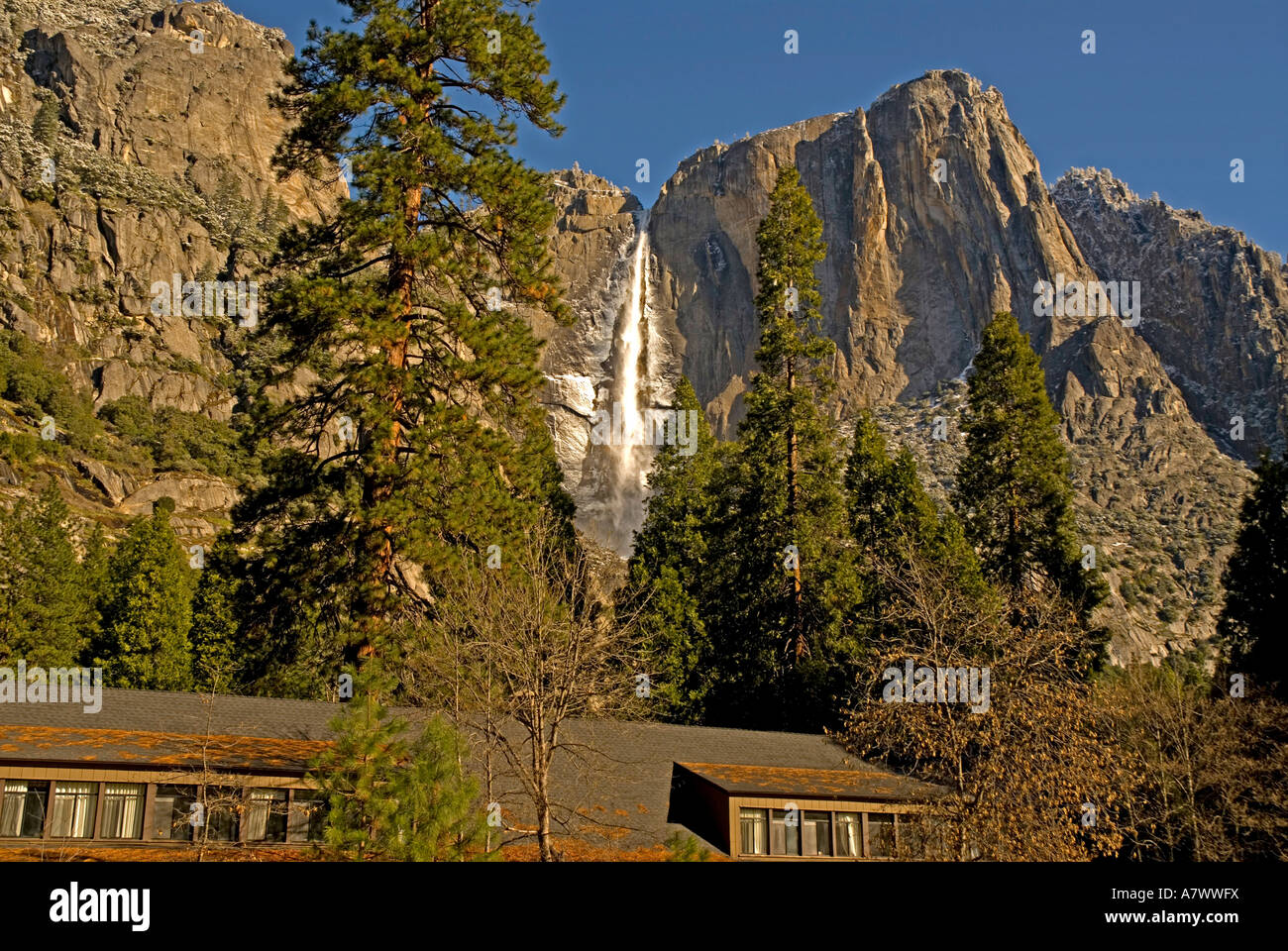 yosemite falls behind yosemite lodge stock photo 11922253 alamy