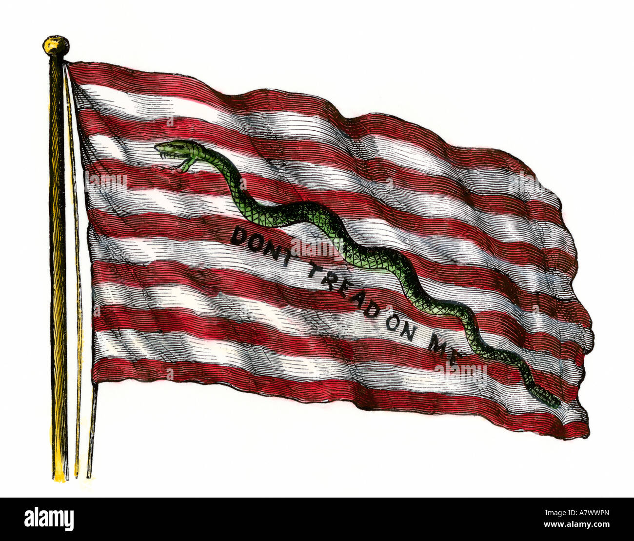 Colonists Rattlesnake Flag with Dont Tread on Me slogan in its naval jack form American Revolution. Hand-colored - Stock Image