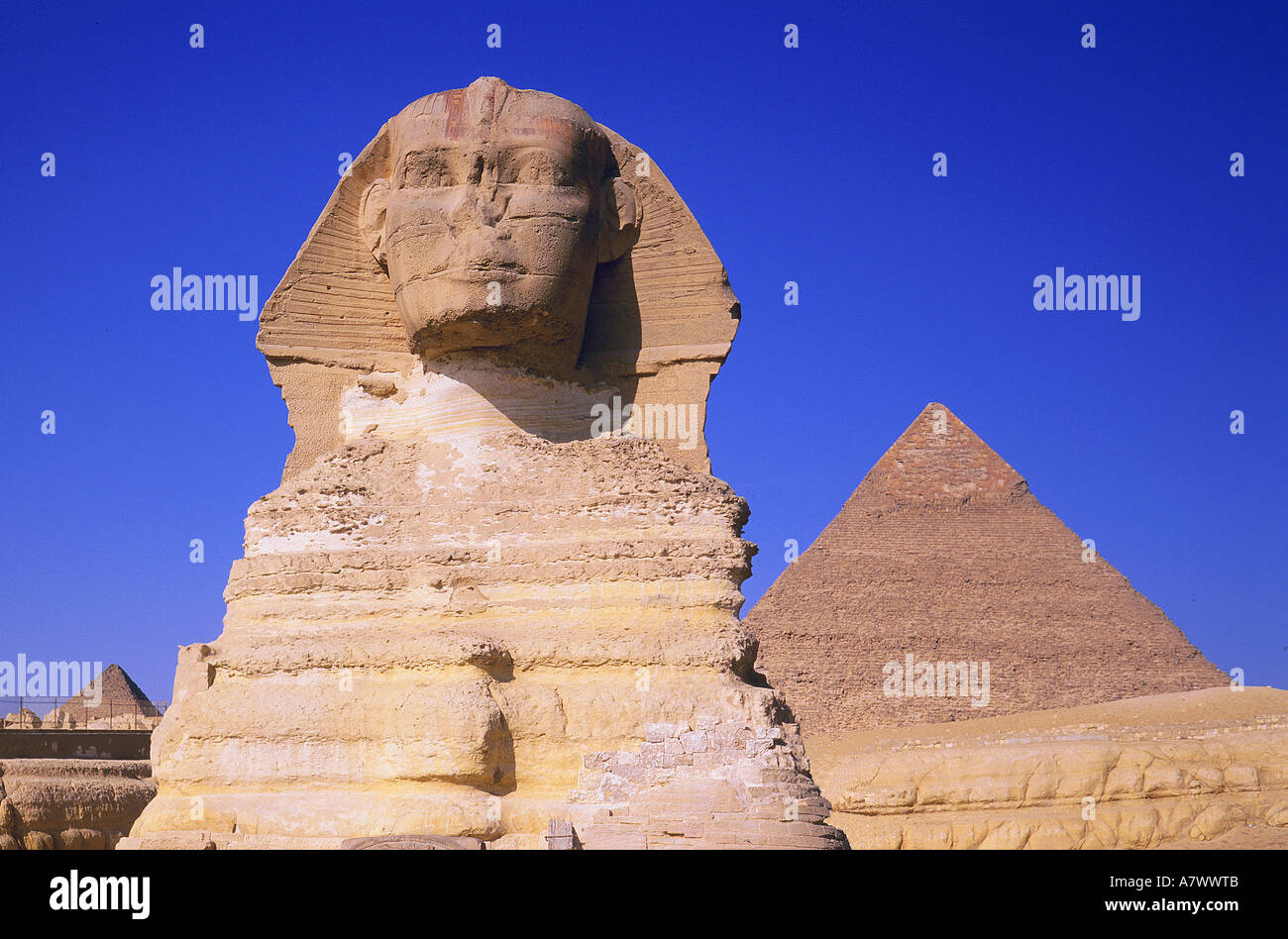 Egypt, Cairos, Kheops pyramid and the sphinx - Stock Image
