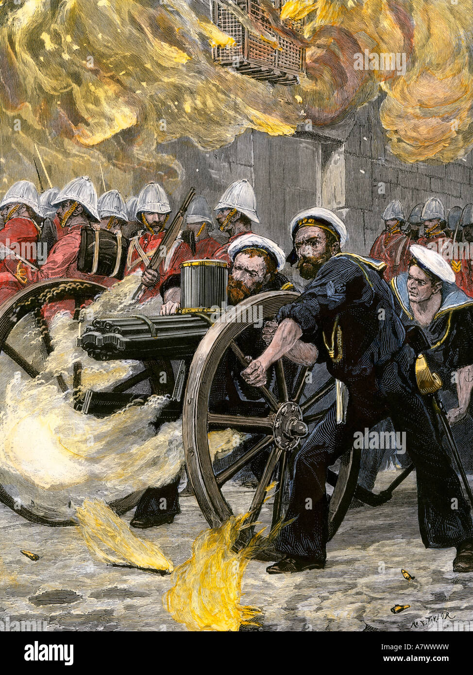 British naval brigade using a Gatling gun to occupy Alexandria Egypt 1882. Hand-colored woodcut - Stock Image