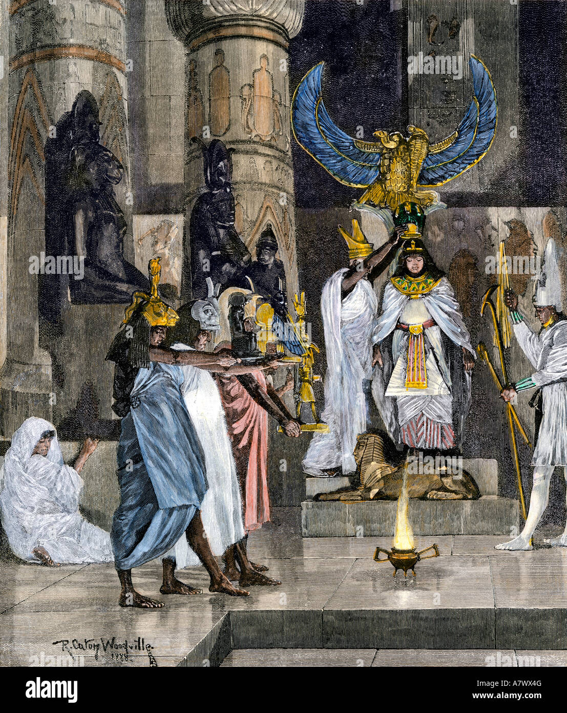 Coronation of a female pharaoh in ancient Egypt. Hand-colored woodcut - Stock Image