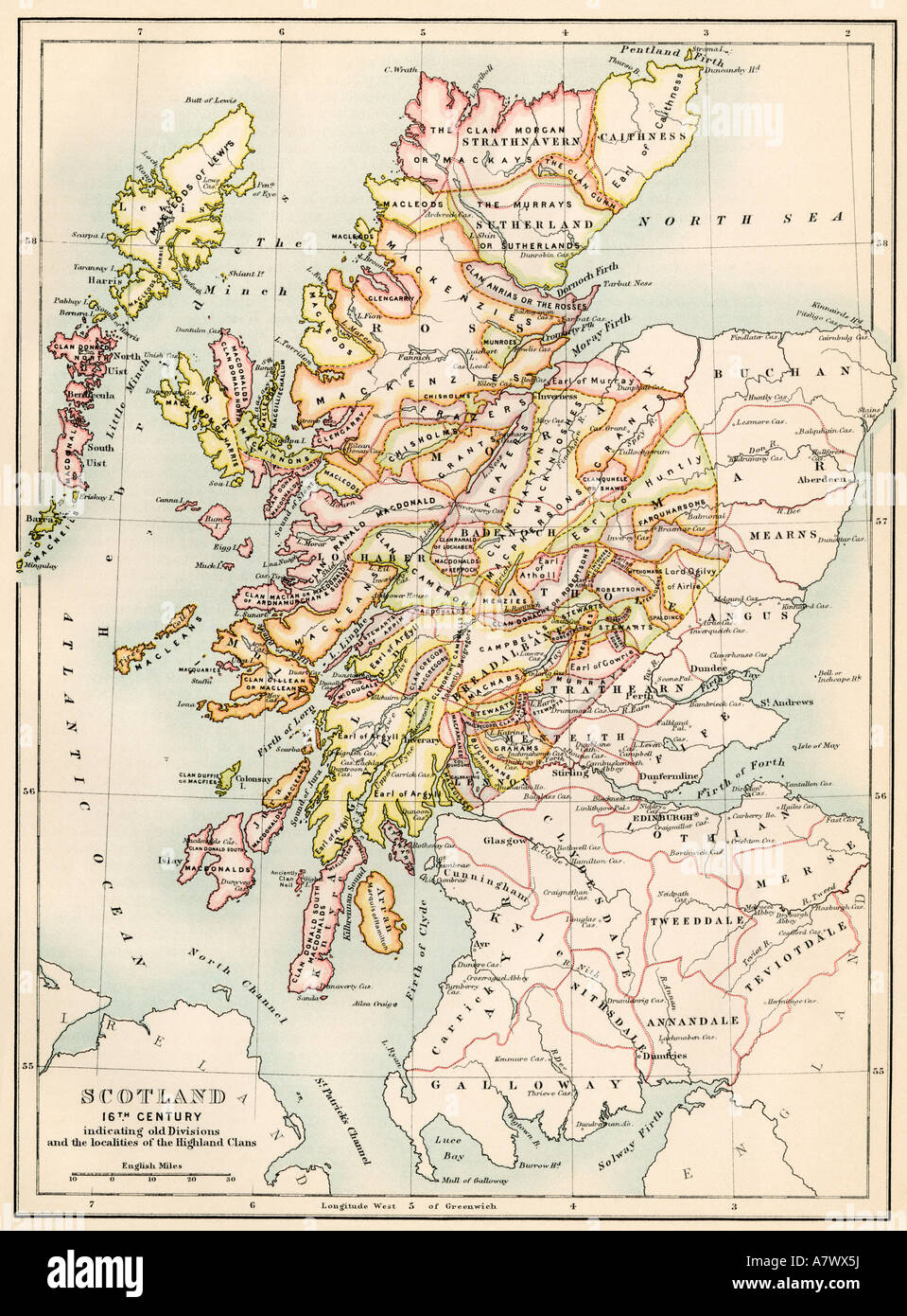 Map of Scotland in the 1520s showing the territories of the Highland clans.  Color lithograph