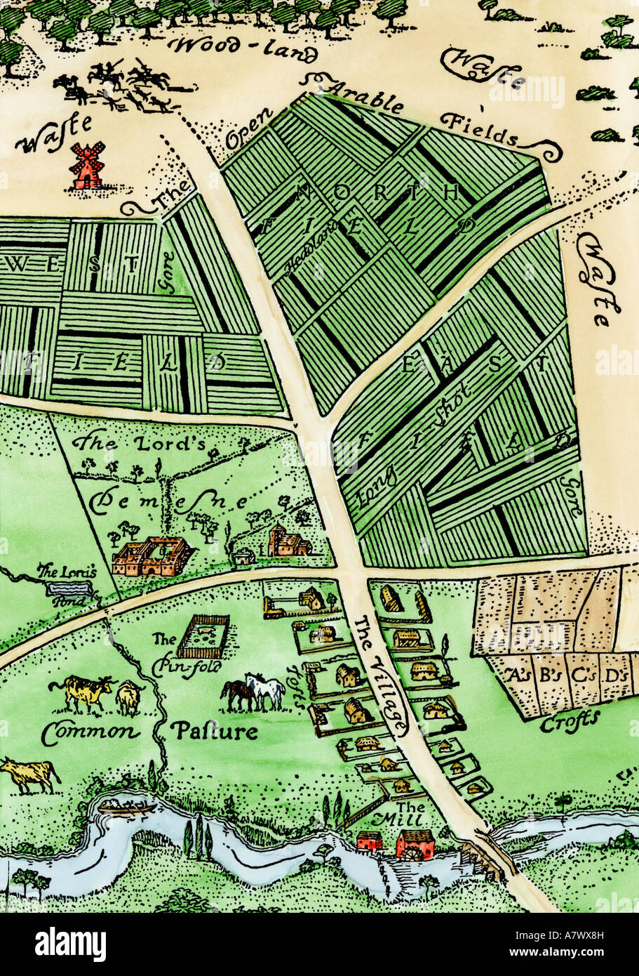 Arrangement of manor lands near a village in the Middle Ages. Hand-colored woodcut - Stock Image