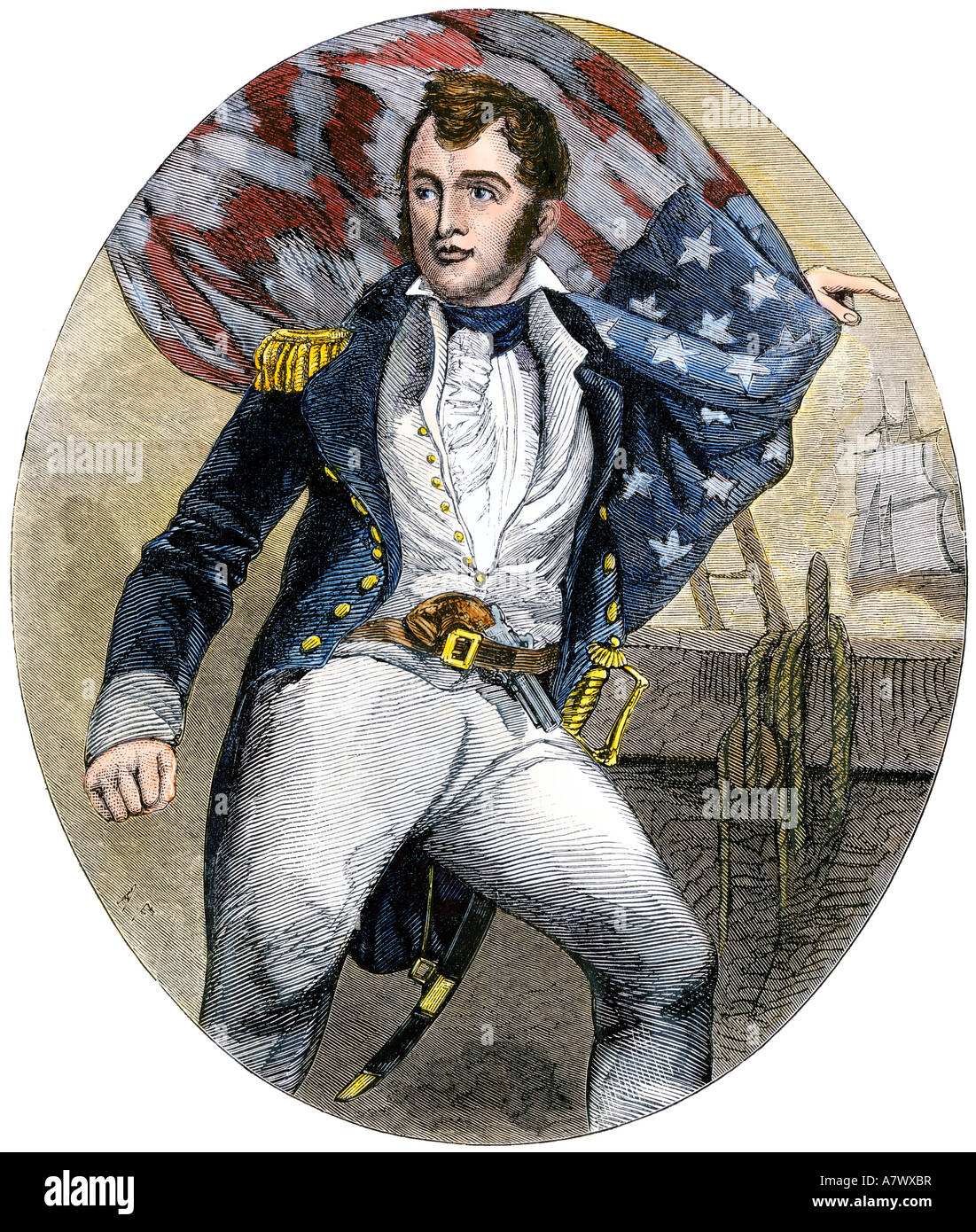 Oliver H. Perry in the rigging, War of 1812 - Stock Image