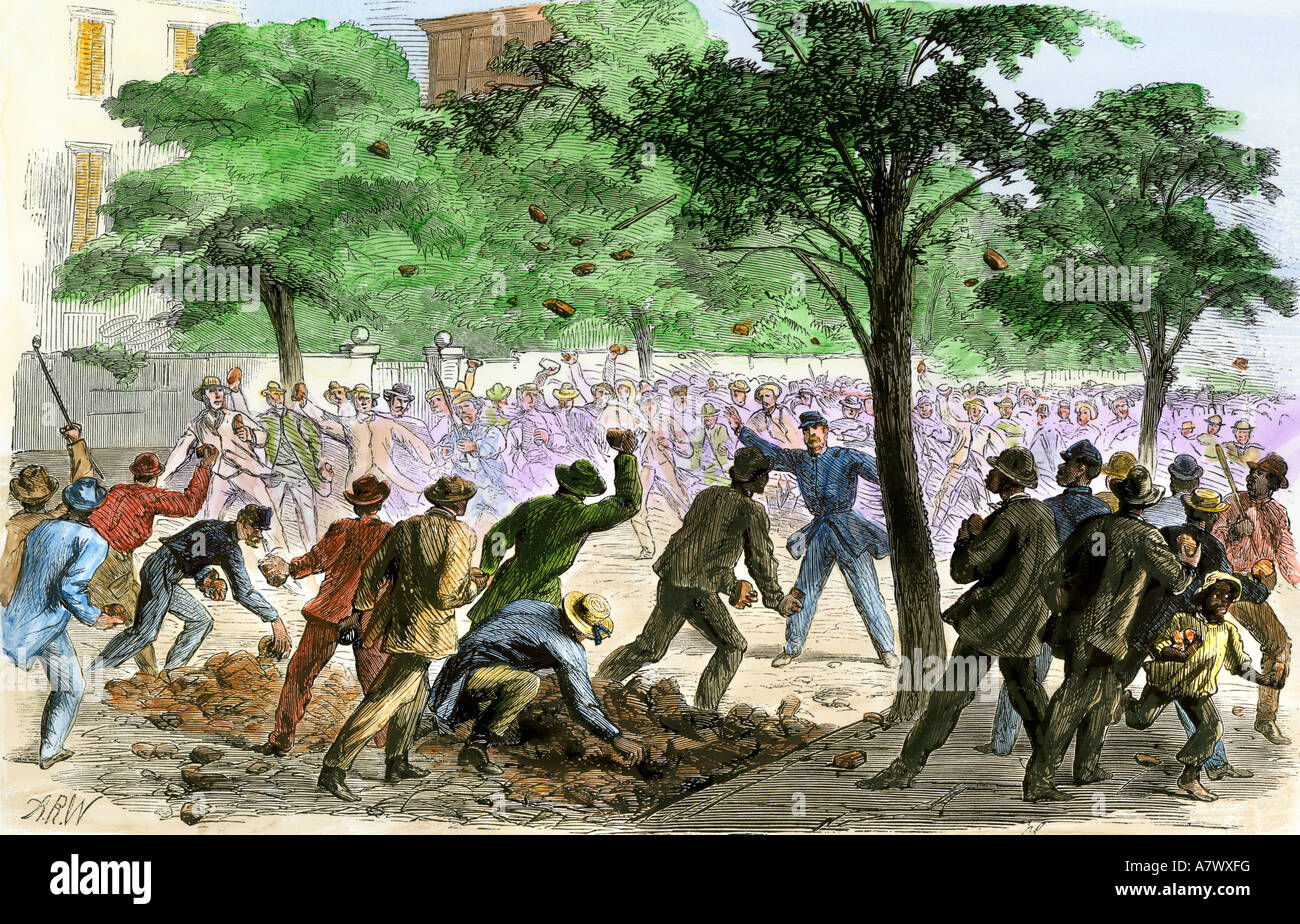White and black rioters throwing brickbats at each other in Charleston South Carolina 1866. Hand-colored woodcut - Stock Image