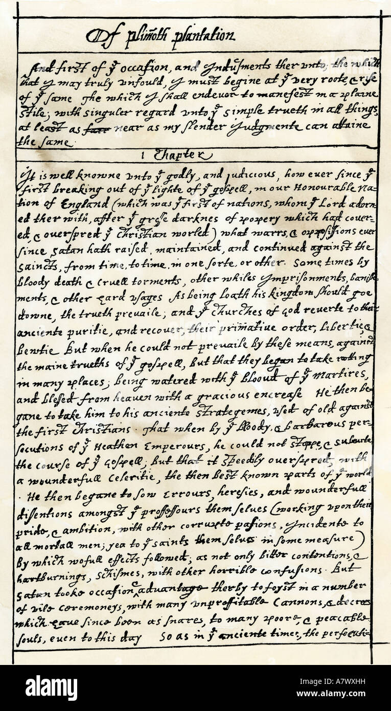First manuscript page of Governor William Bradford History of the Plimoth Plantation early 1600s. Woodcut with a - Stock Image
