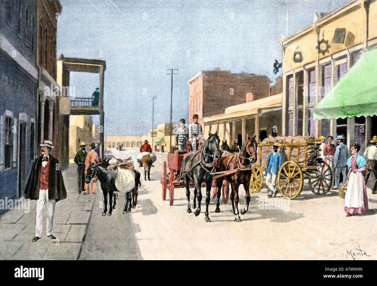 Horse-drawn wagons near the Plaza in Santa Fe New Mexico Territory 1890s. Hand-colored halftone of an ilustration - Stock Image