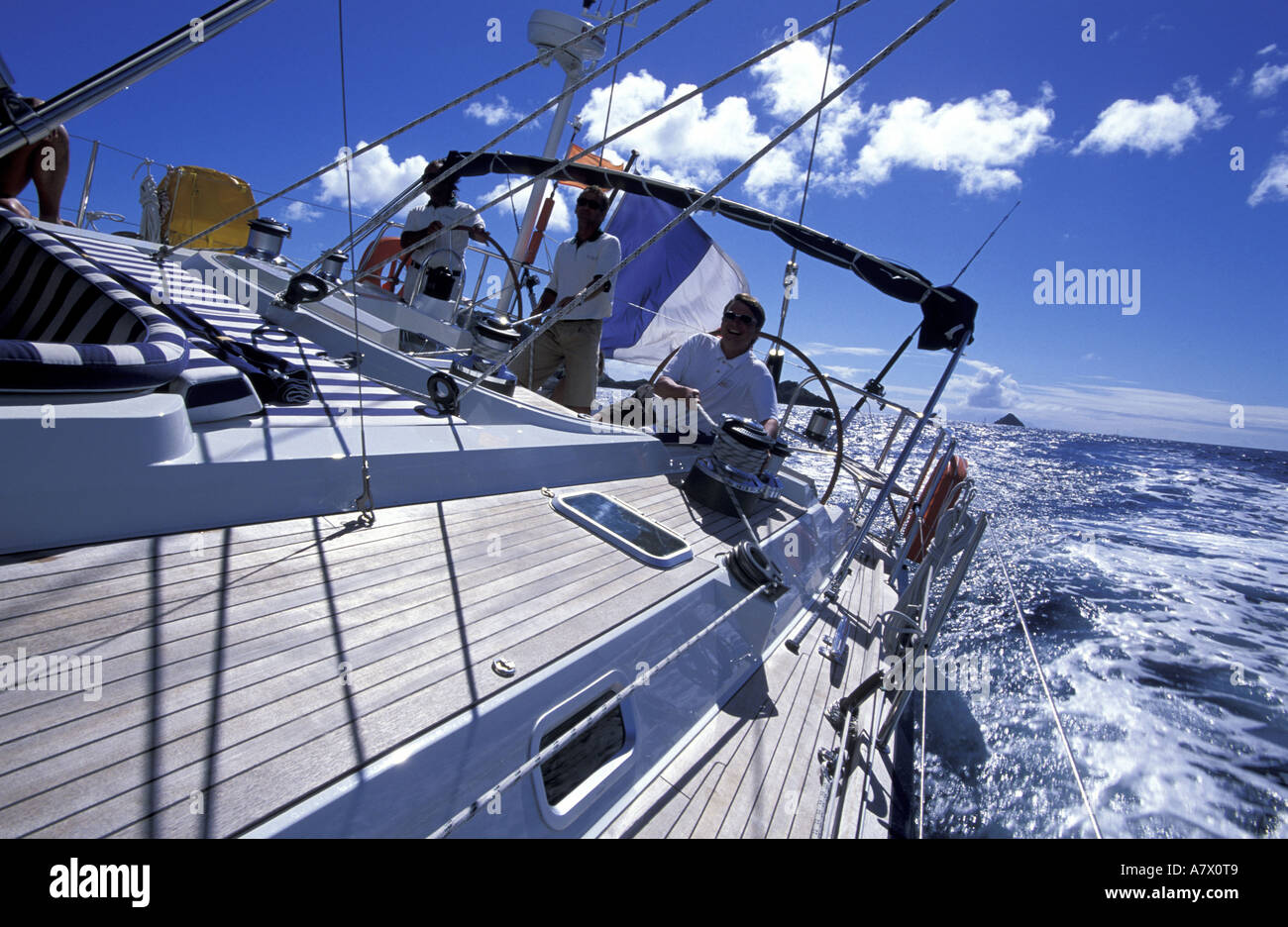 France, Guadeloupe (French West Indies), Saint-Martin, cruising on the Chrysalis, a sailing ship of 77 feet - Stock Image