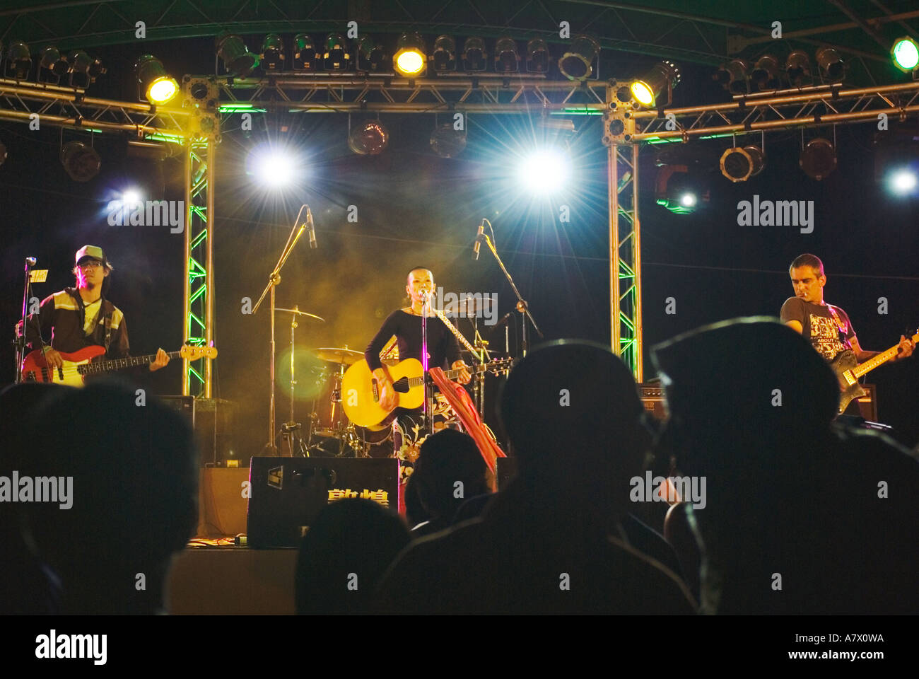 Chinese Rock Band Neon Performing Concert On Stage Kenting Taiwan China - Stock Image