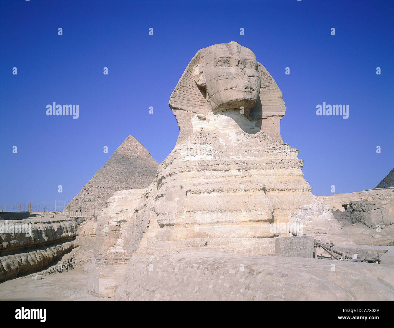 Egypt, Cairo, Gizeh, Sphinx and the pyramid of Kephren - Stock Image
