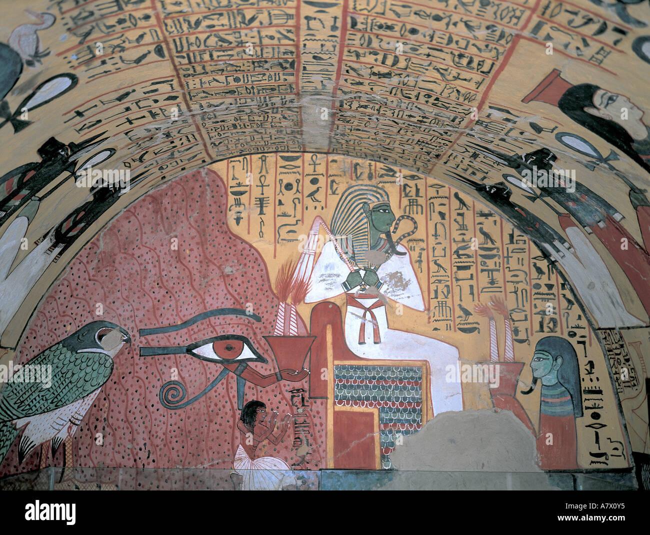 Egypt, Nile valley, Luxor region, Deir al-Madinah village, Pached's tomb, Osiris God and the Eye of Horus - Stock Image