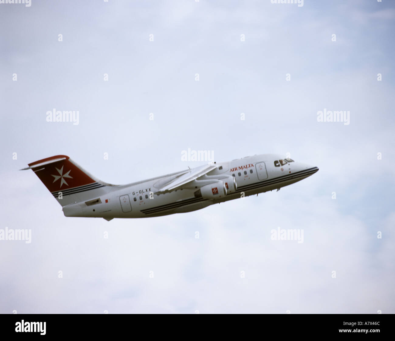 British Aerospace 146 Whisperjet in the colours of Air Malta - Stock Image