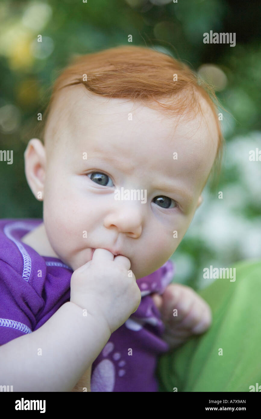 portrait of 3 - 4 month old baby girl Stock Photo: 11926220