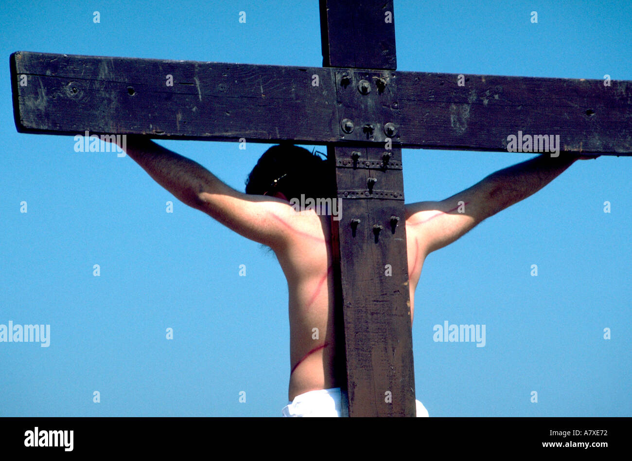 Crucifixion at Way of the Cross Procession in the Pilsen neighborhood. Chicago Illinois USA Stock Photo