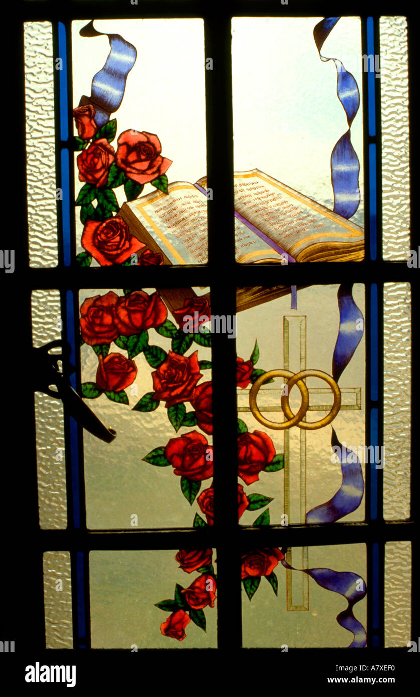 Wedding cross stained glass