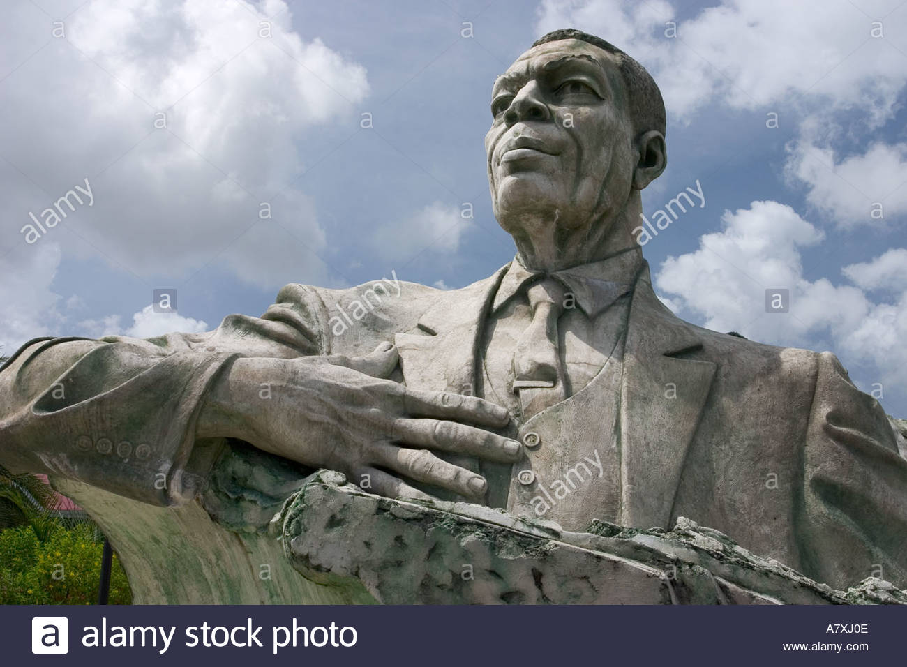 VC Bird Memorial statue St Johns Antigua Leeward Islands VC Bird is considered the Father of the Nation of Antigua - Stock Image