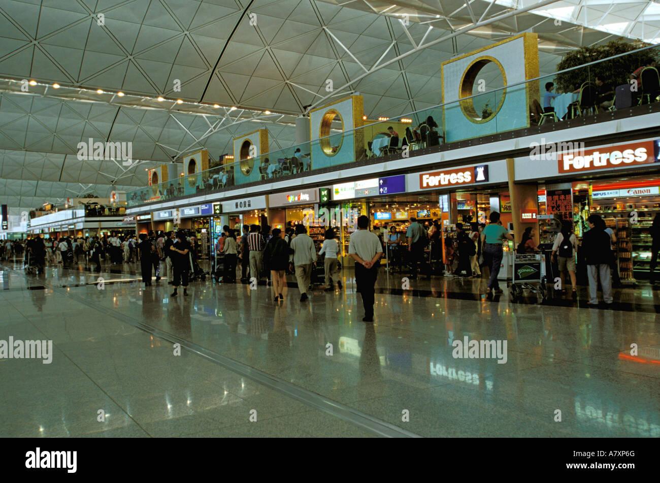 Asia, China, Hong Kong, Lantau Island. Chek Lap Kok Airport, airport shops - Stock Image
