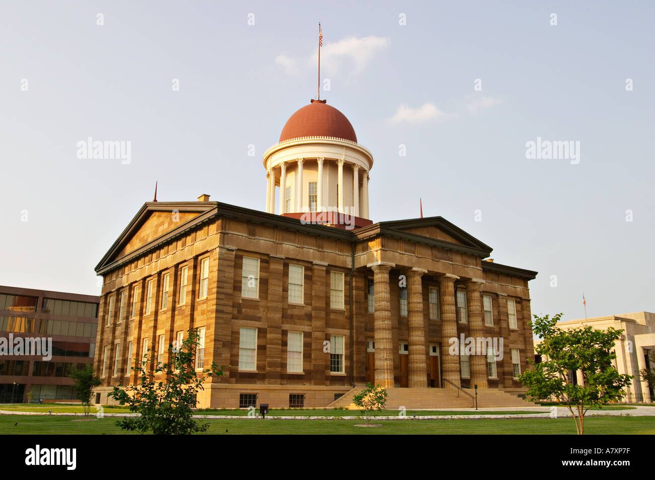 ILLINOIS Springfield Old State Capitol statehouse from 1839 to 1876 exterior stone and columns dome - Stock Image