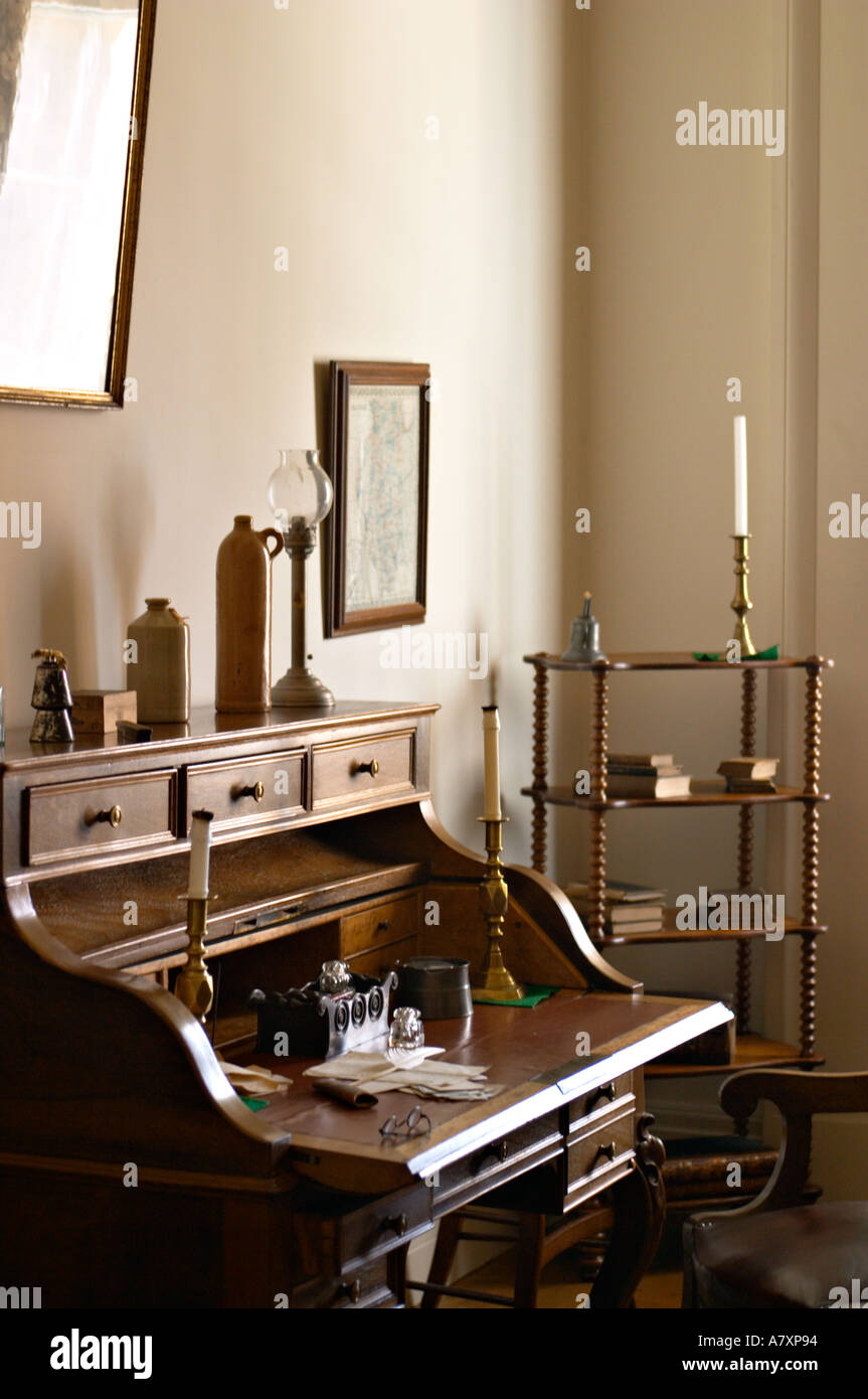 ILLINOIS Springfield Old State Capitol statehouse from 1839 to 1876 interior desk candles old fashioned - Stock Image