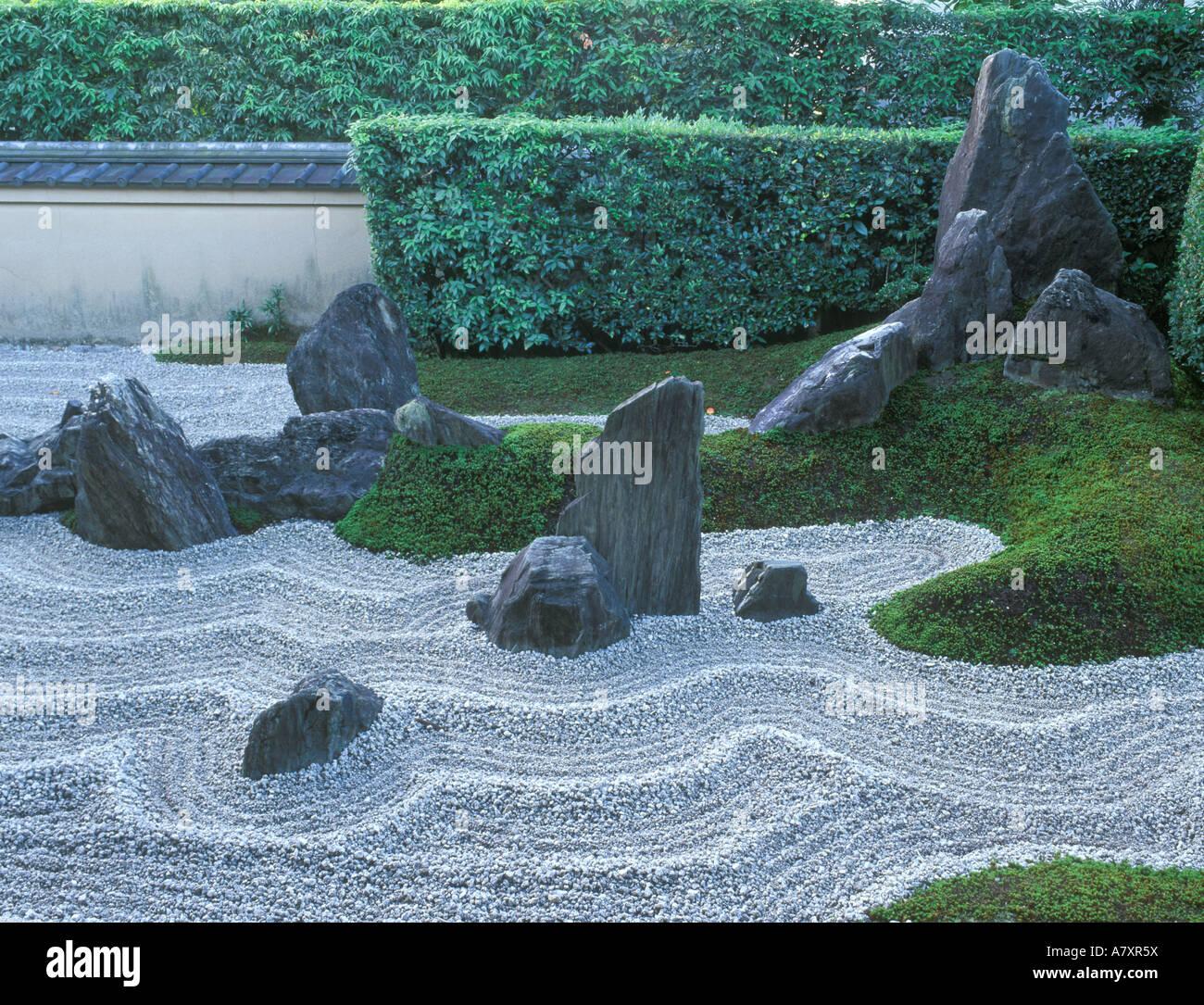 Asia, Japan, Kyoto, Daitokuji Temple, Zuiho-in Temple Rock Garden - Stock Image