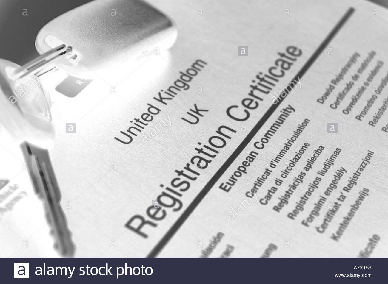 uk car registration document log book and keys stock photo 3895384