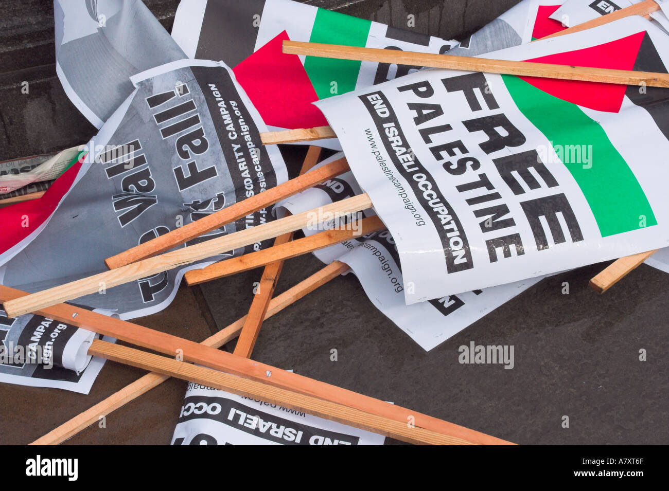 Free Palestine Demonstration discarded placards in London UK - Stock Image