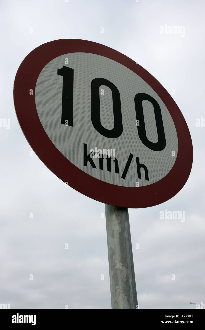 100 kilometres per hour km h warning traffic sign outside Letterkenny County Donegal Republic of Ireland - Stock Image