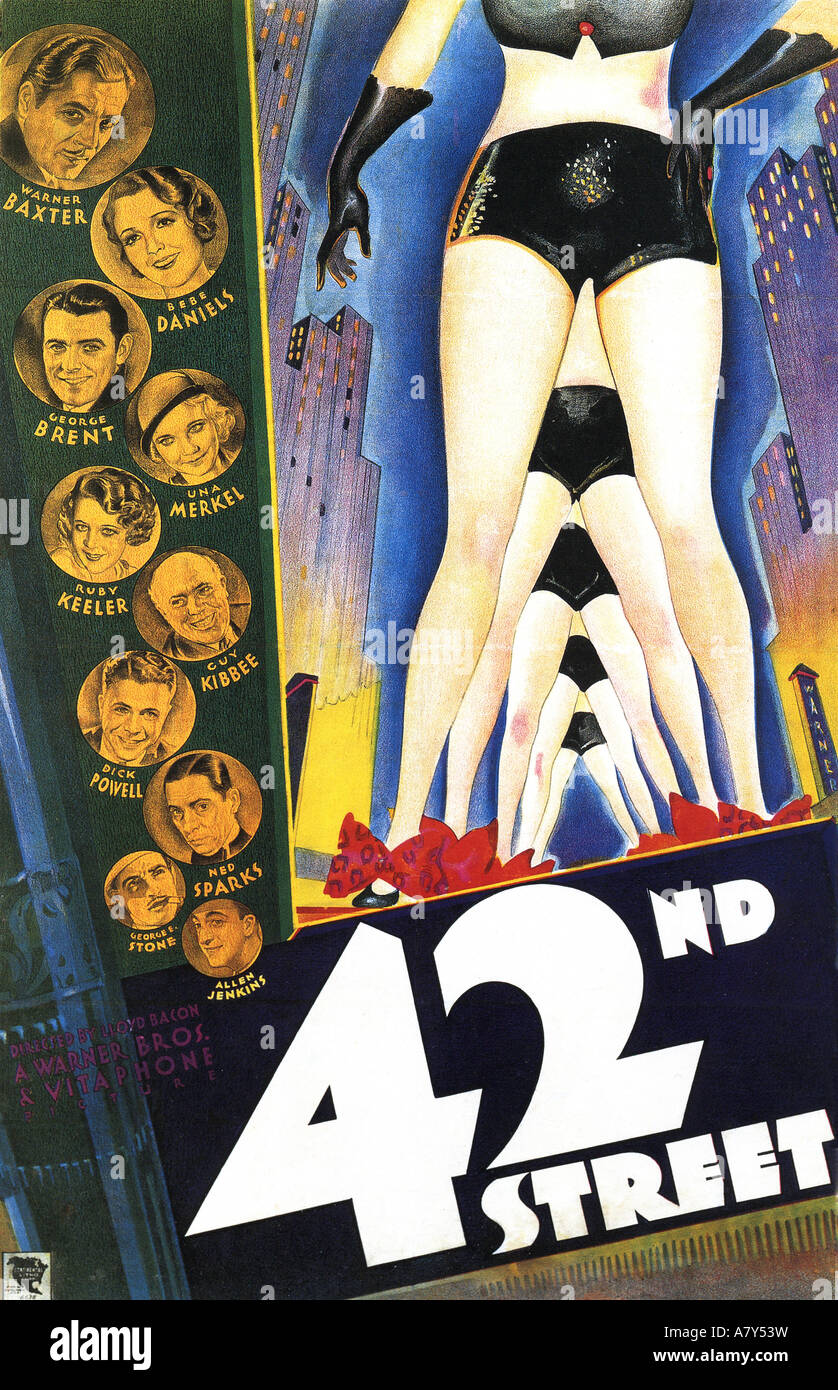 42ND STREET poster for 1933 Warner film musical with Ruby Keeler and Bebe Daniels - Stock Image