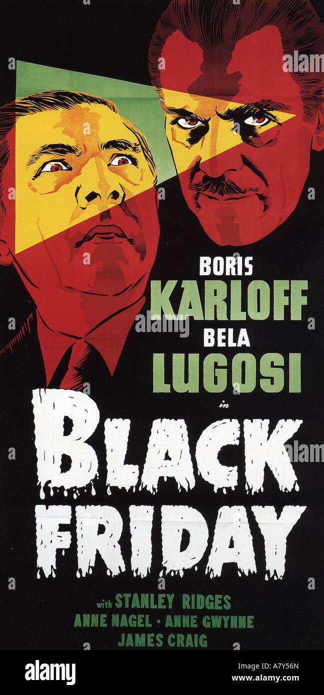 BLACK FRIDAY poster for 1940 Universal film with Boris Karloff and Bela Lugosi - Stock Image